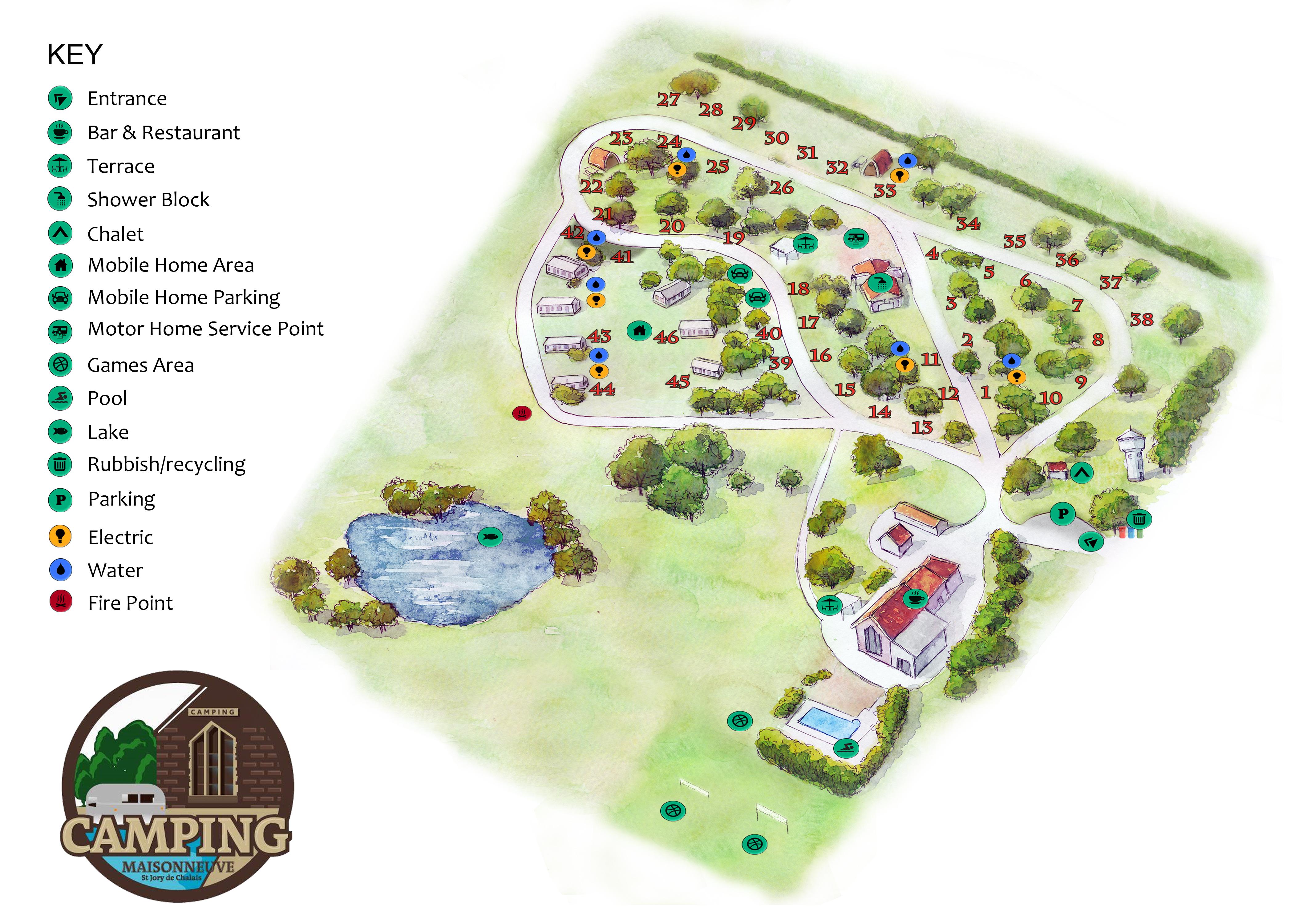 Campsite map camping maisonneuve for Maison neuve